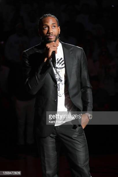 San Diego State Alumni Kawhi Leonard participates in his jersey retirement ceremony during half time of the game against the San Diego State Aztecs...