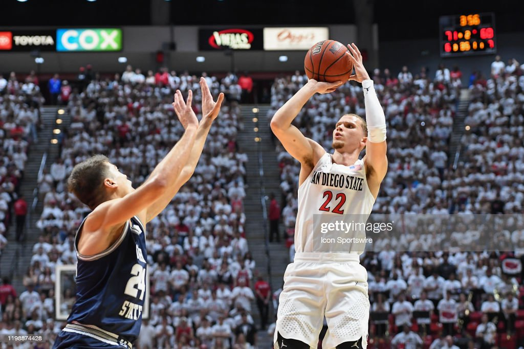 COLLEGE BASKETBALL: FEB 01 Utah State at San Diego State : News Photo