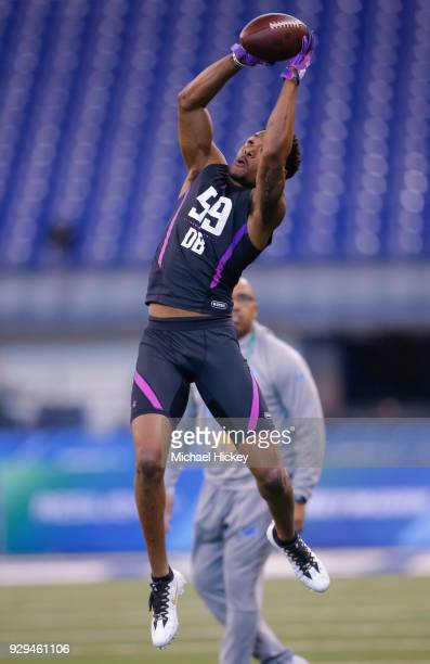 San Diego State defensive back Kam Kelly participates in a drill during the NFL Scouting Combine at Lucas Oil Stadium on March 5 2018 in Indianapolis...