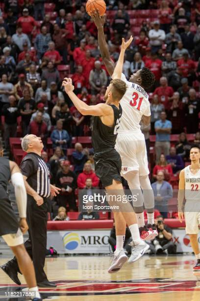 San Diego State University Aztecs forward Nathan Mensah wins the opening tip off during the game between the Grand Canyon Antelopes and the San Diego...