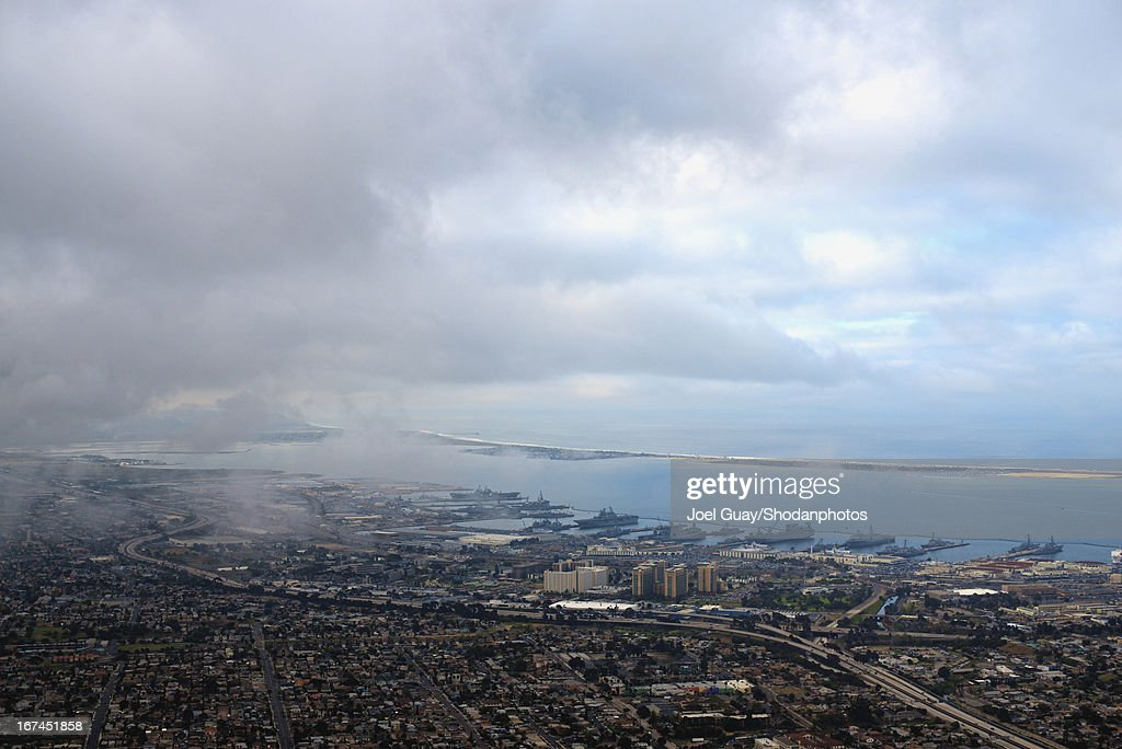 San Diego sunrise from the air 2013 : Stock Photo