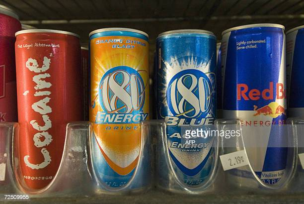 TO GO WITH AFP STORYLIFESTYLEUSDRINKSECTORHEALTH Cans of energy drinks are displayed in a store in San Diego California 10 November 2006 The kick...