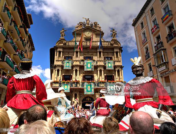 san fermín festivals in pamplona - pamplona stock photos and pictures