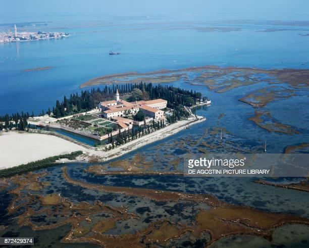 San Francesco del Deserto Island with the monastic complex founded by Saint Francis of Assisi, Venetian Lagoon, Venice, Veneto, Italy.