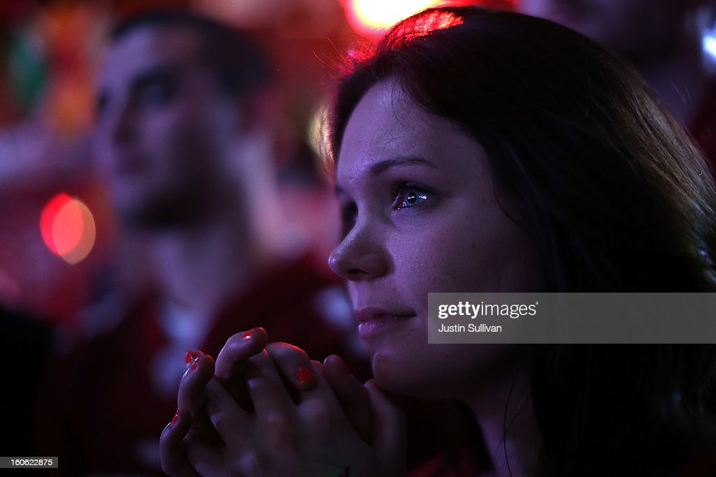A San Francisco 49er fan reacts as she watches Super Bowl XLVII at Ireland's 32 on February 3, 2013 in San Francisco, California. The San Francisco 49ers are facing off against the Baltimore Ravens in Super Bowl XLVII at the Superdome in New Orleans, Louisana.