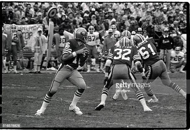 San Francisco 49er quarterback Joe Montana is shown about to pass the football in this game against the Cleveland Browns November 15 1981