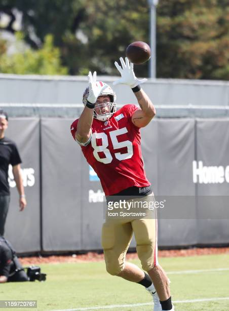 San Francisco 49er Tight End George Kittle catching the ball for the 49ers training camp on August 03 at SAP Performance Center in Santa Clara CA