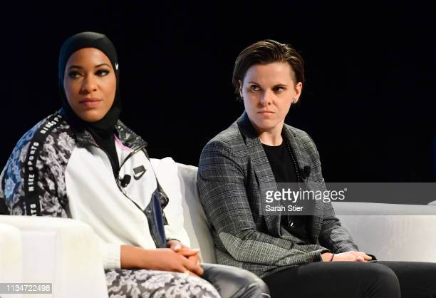 San Francisco 49ers assistant coach Katie Sowers and US Olympic Medalist Ibtihaj Muhammad participate in a panel discussion during the SheBelieves...