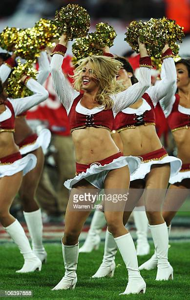 San Francisco 49ers cheerleaders entertain the crowd prior to the NFL International Series match between Denver Broncos and San Francisco 49ers at...