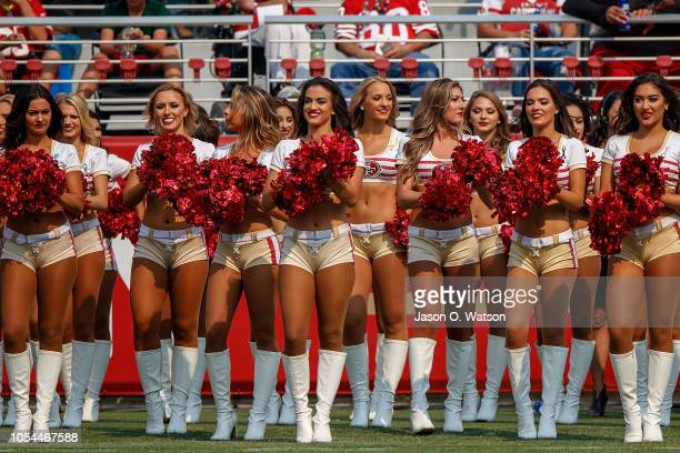 San Francisco 49ers cheerleaders on the sidelines during the first quarter against the Arizona Cardinals at Levi's Stadium on October 7 2018 in Santa...