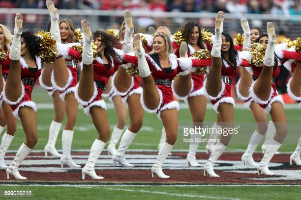 San Francisco 49ers cheerleaders perform during an NFL game against the Jacksonville Jaguars at Levi's Stadium in Santa Clara CA on Sunday December...