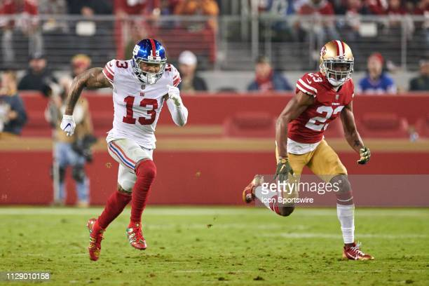 San Francisco 49ers cornerback Ahkello Witherspoon chases New York Giants wide receiver Odell Beckham during the NFL game between the New York Giants...