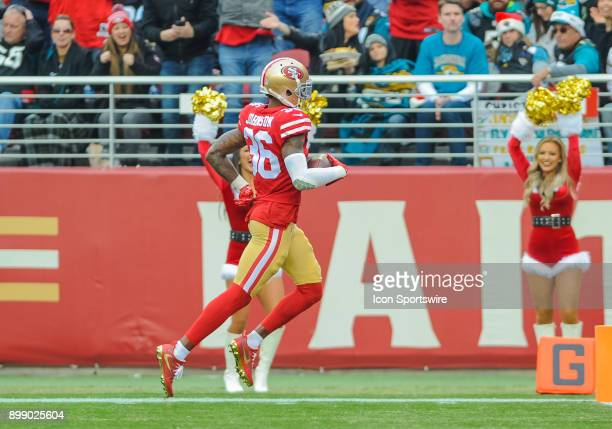 San Francisco 49ers cornerback Dontae Johnson runs down to the end zone during the game between the San Francisco 49ers and the Jacksonville Jaguars...