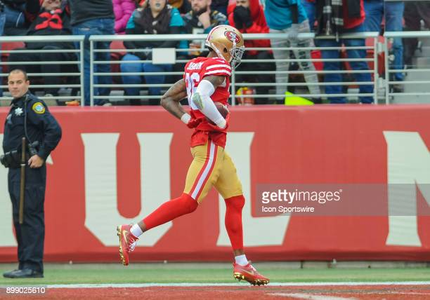 San Francisco 49ers cornerback Dontae Johnson scores on a interception in the second quarter during the game between the San Francisco 49ers and the...