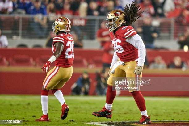 San Francisco 49ers cornerback Jimmie Ward and San Francisco 49ers defensive tackle Sheldon Day celebrate after a play during the NFL game between...