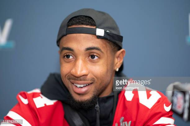 San Francisco 49ers Cornerback K'Waun Williams speaks to the media during the San Francisco 49ers press conference prior to Super Bowl LIV on January...