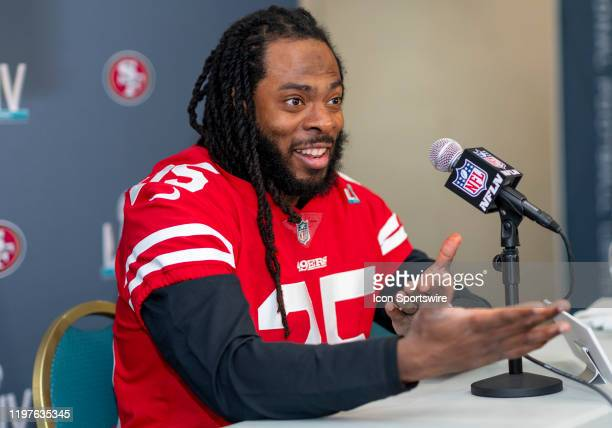 San Francisco 49ers Cornerback Richard Sherman speaks to the media during the San Francisco 49ers press conference prior to Super Bowl LIV on January...