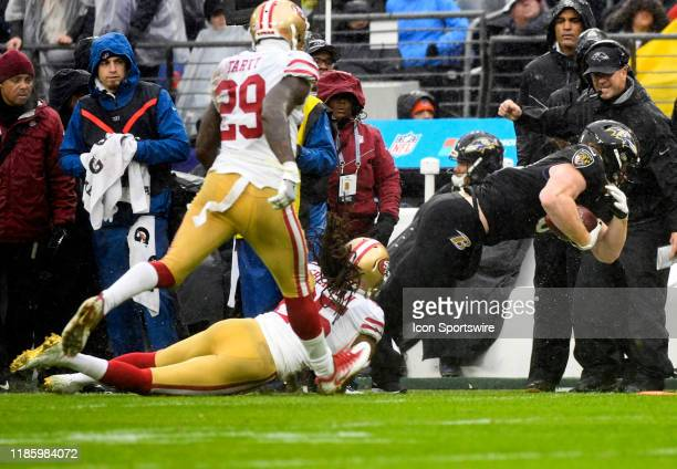 San Francisco 49ers cornerback Richard Sherman tackles Baltimore Ravens tight end Hayden Hurst on December 1 at MT Bank Stadium in Baltimore MD