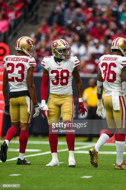 San Francisco 49ers defensive back Adrian Colbert gets ready for a play during the football game between the San Francisco 49ers and the Houston...