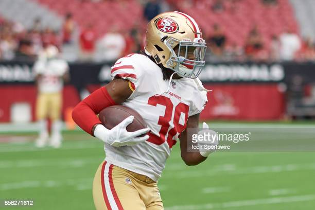San Francisco 49ers defensive back Adrian Colbert warms up prior to an NFL game between the Arizona Cardinals and San Francisco 49ers at the...