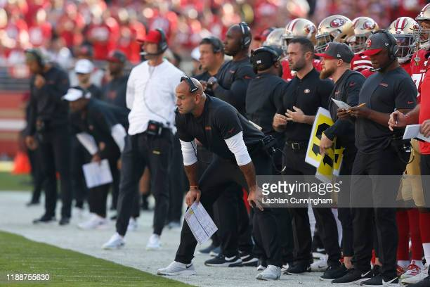 San Francisco 49ers defensive coordinator Robert Saleh looks on from the sideline in the first quarter of the game against the Arizona Cardinals at...
