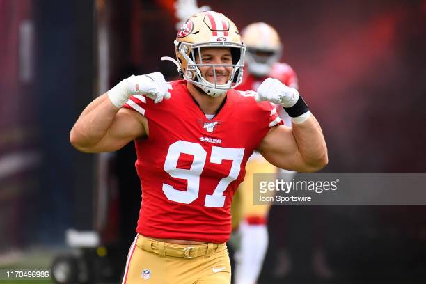 San Francisco 49ers Defensive End Nick Bosa flexes during pregame introductions during the National Football League game between the Pittsburgh...