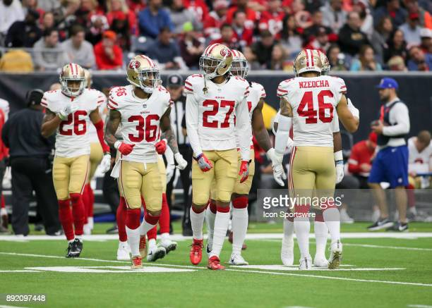 San Francisco 49ers defensive line approaches the line of scrimmage during the NFL game between the San Francisco 49ers and Houston Texans on...
