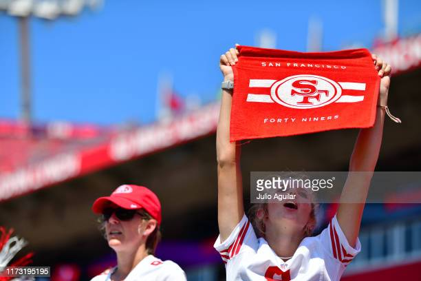 San Francisco 49ers fan cheers during pregame before a kickoff between the Tampa Bay Buccaneers and the San Francisco 49ers at Raymond James Stadium...