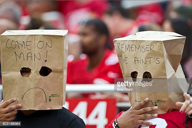 San Francisco 49ers fans express their dissatisfaction during a loss to the New Orleans Saints in the second quarter on November 6 2016 at Levi's...