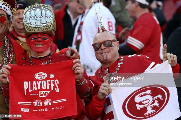 San Francisco 49ers fans in the stands prior to the NFC Divisional Playoff game between the San Francisco 49ers and the Minnesota Vikings on January...