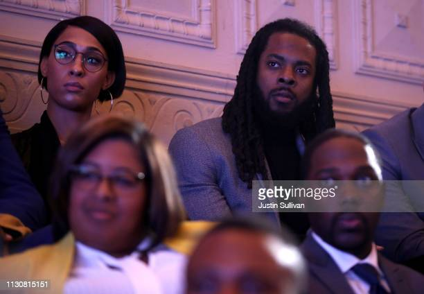 San Francisco 49ers football player Richard Sherman and Actress MJ Rodriguez look on during the MBK Rising My Brother's Keeper Alliance Summit on...