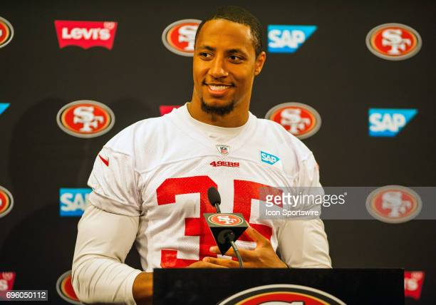 San Francisco 49ers free safety Eric Reid has a big smile on his face before his press conference begins during the San Francisco 49ers Minicamp on...