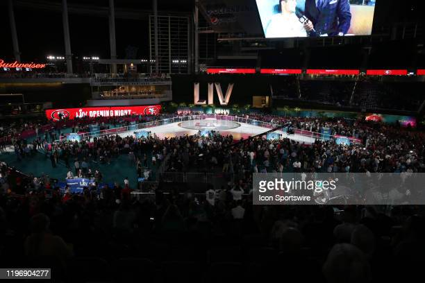 San Francisco 49ers Fullback Kyle Juszczyk on stage during the San Francisco 49ers Super Bowl LIV Opening Night on January 27 2020 at Marlins Park i...
