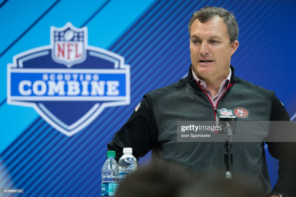 San Francisco 49ers general manager John Lynch answers questions from the media during the NFL Scouting Combine on March 1, 2018 at the Indiana Convention Center in Indianapolis, IN.