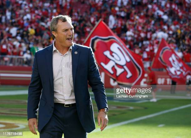 San Francisco 49ers General Manager John Lynch celebrates after a win against the Pittsburgh Steelers at Levi's Stadium on September 22 2019 in Santa...