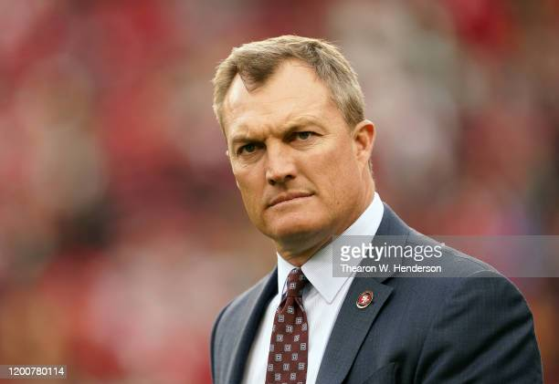 San Francisco 49ers general manager John Lynch looks on prior to the NFC Championship game against the Green Bay Packers at Levi's Stadium on January...