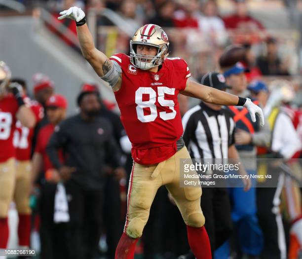 San Francisco 49ers' George Kittle celebrates his first down catch against the Chicago Bears in the second quarter at Levi's Stadium in Santa Clara...