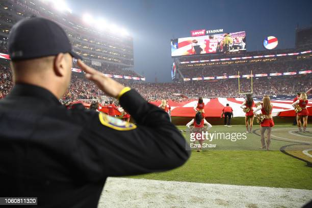 San Francisco 49ers Gold Rush cheerleader kneels during the national anthem prior to the NFL game between the San Francisco 49ers and the New York...
