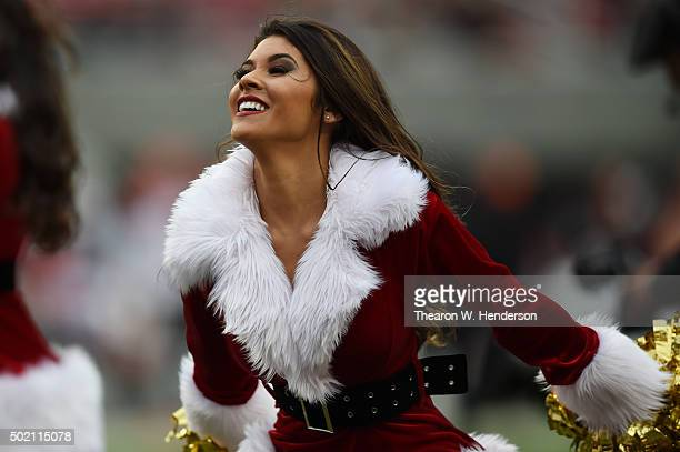 San Francisco 49ers Gold Rush cheerleader performs during their NFL game against the Cincinnati Bengals at Levi's Stadium on December 20 2015 in...