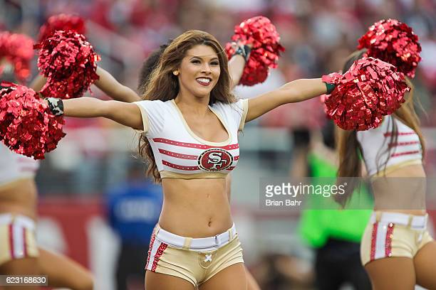 San Francisco 49ers Gold Rush cheerleaders dance during a game against the New Orleans Saints on November 6 2016 at Levi's Stadium in Santa Clara...