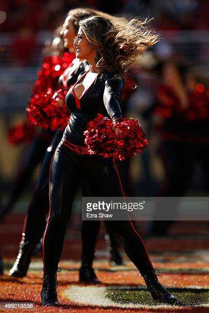 San Francisco 49ers Gold Rush dancer performs during their NFL game against the Arizona Cardinals at Levi's Stadium on November 29 2015 in Santa...