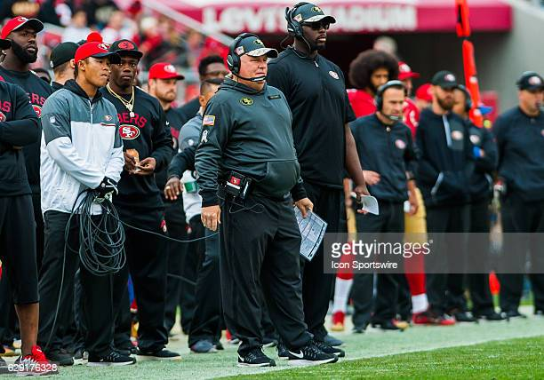 San Francisco 49ers Head Coach Chip Kelly looks on from the sideline during the regular season NFL game between the San Francisco 49ers verses the...