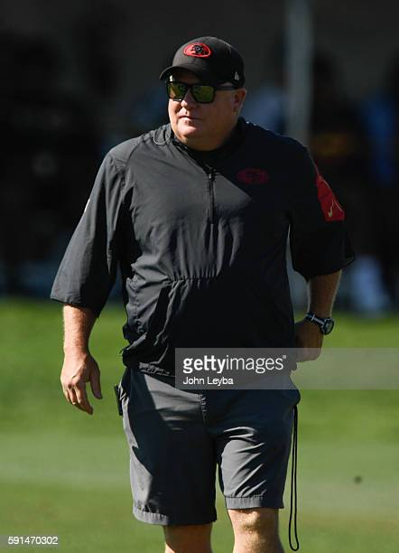 San Francisco 49ers head coach Chip Kelly walks the field before their joint practice with the Denver Broncos August 17, 2016 at Dove Valley.