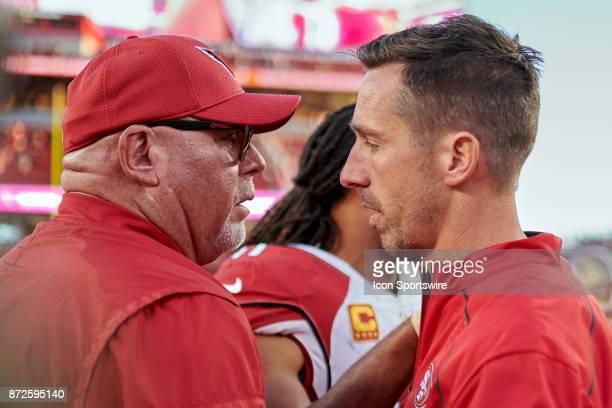 San Francisco 49ers head coach Kyle Shanahan and Arizona Cardinals head coach Bruce Arians shake hands during an NFL game between the Arizona...
