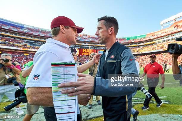 San Francisco 49ers head coach Kyle Shanahan and Washington Redskins head coach Jay Gruden shake hands after a NFL football game between the San...