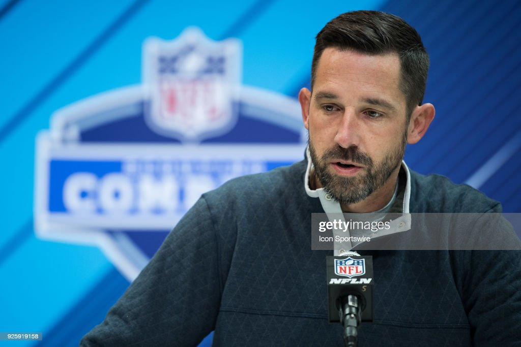 San Francisco 49ers head coach Kyle Shanahan answers questions from the media during the NFL Scouting Combine on March 1, 2018 at the Indiana Convention Center in Indianapolis, IN.