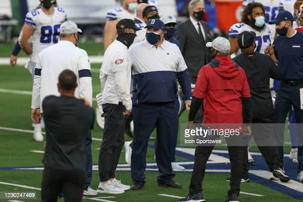San Francisco 49ers Head Coach Kyle Shanahan greets Dallas Cowboys Head Coach Mike McCarthy after the game between the Dallas Cowboys and San...