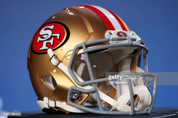 San Francisco 49ers helmet is displayed prior to a press conference with NFL Commissioner Roger Goodell for Super Bowl LIV at the Hilton Miami...