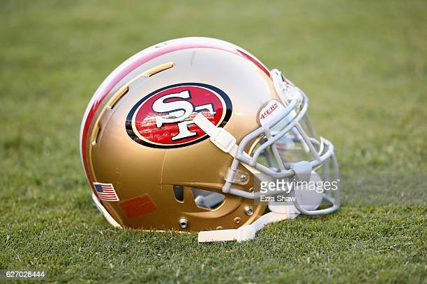 San Francisco 49ers helmet on the field at Levi's Stadium on October 6 2016 in Santa Clara California