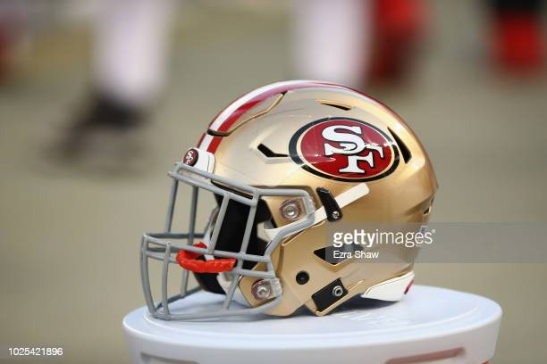 San Francisco 49ers helmet on the sidelines during their preseason game against the Los Angeles Chargers at Levi's Stadium on August 30 2018 in Santa...